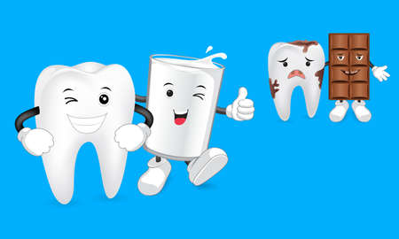 milk tooth: Glass of milk with tooth and Chocolate character with decay tooth. Funny illustration. Great for dental health concept.