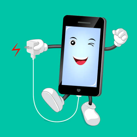 duration: Smart phone Character with mobile phone charger. Great for technology concept. Character design illustration.