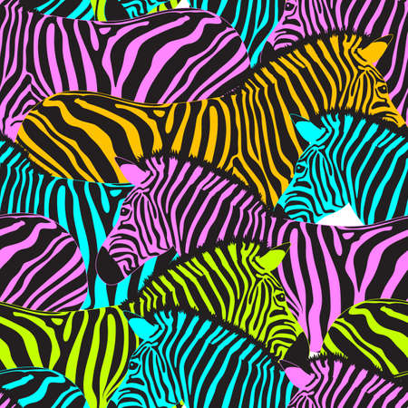 Colorful zebra seamless pattern. Savannah Animal ornament. Wild animal texture. Striped black and colors. design trendy fabric texture, illustration.