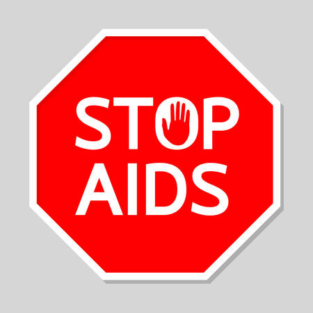 convalescence: Stop AIDS Sign in Red Polygon. Illustration design, isolated on gray Background. Illustration