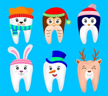 Cute Christmas teeth characters. polar bear, penguin, Owl, deer, snow man, bunny. illustration isolated on blue background.  イラスト・ベクター素材
