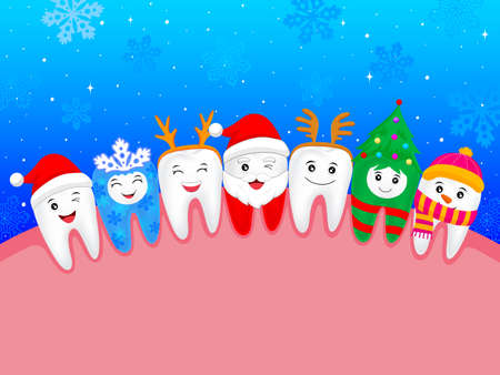 happy cute cartoon tooth. illustration. snowflake, Santa Claus, Xmas tree, deer, snowman. great for celebrate Christmas.