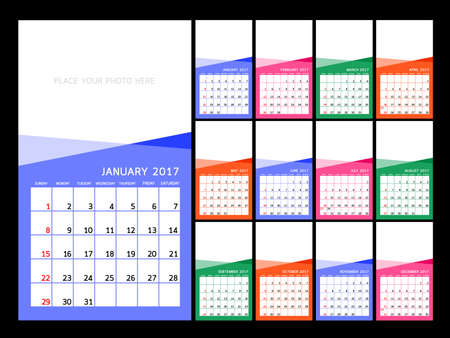 meses del año: Calendar 2017 year.  illustration Design Template. Set of 12 Months. Week Starts Sunday. Vectores