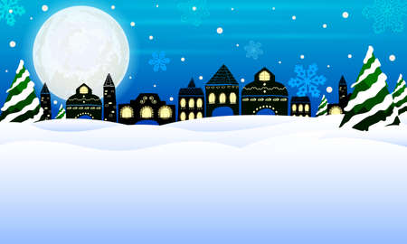 winter scene: Winter Houses with Snowing Background, Panorama, Moon and Forest Scene. illustration