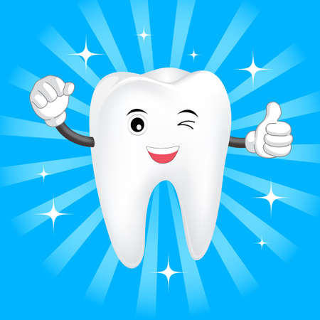 Happy Dental Smile Tooth Mascot. Cartoon Character on sun burst blue sky background. Illustration. Great for dental care concept.