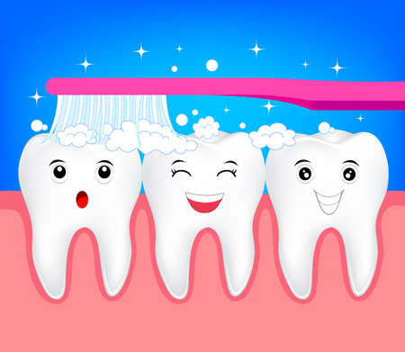 Happy cute cartoon tooth with toothbrush. Illustration for dental healthy care concept.