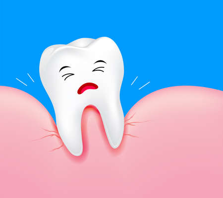 Close up of tooth character with gum problems. Illustration on blue background. Dental care concept.