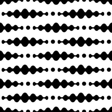 Design monochrome waving seamless pattern. Abstract zigzag background. Vector illustration.  イラスト・ベクター素材