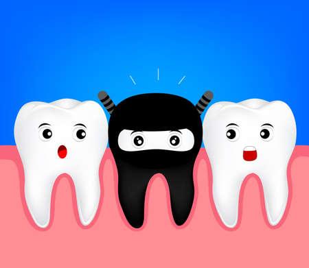mutation: Cute tooth in  black costume. Funny Ninja cartoon character. illustration