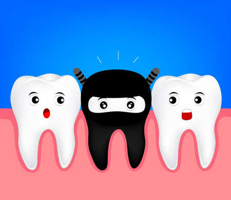 Cute tooth in  black costume. Funny Ninja cartoon character. illustration