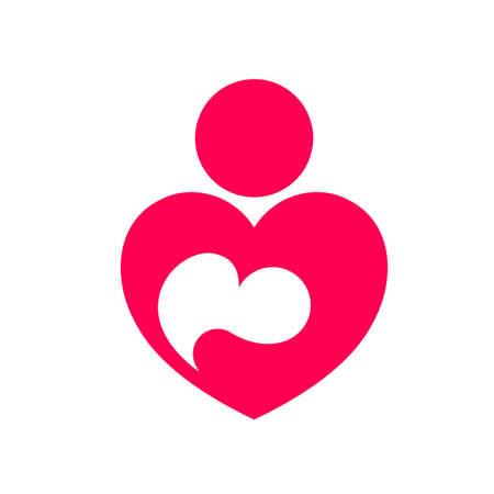 母の愛の抽象的なアイコン。ハート形のロゴのデザインで赤ちゃん。ベクター グラフィックは、白い背景で隔離。  イラスト・ベクター素材