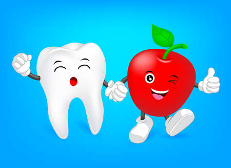 Cute tooth character with red apple. Hand in hand, friends forever. Great for dental care concept.