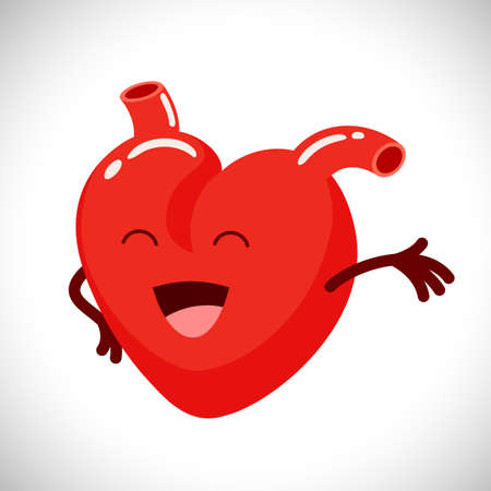 Cute smile heart character. love signs,  Illustration isolated on white background.