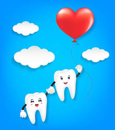 赤いハートのバルーンと歯の文字。バレンタインデーの概念の愛のカップル。青色の背景の図。