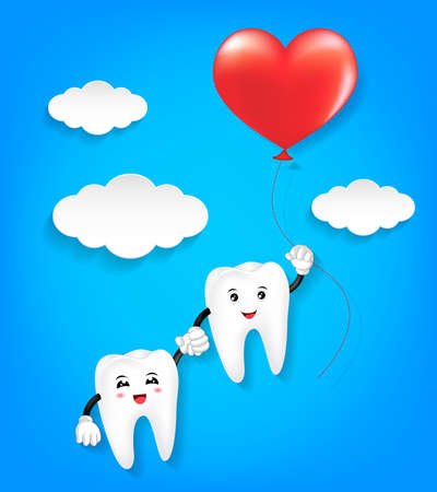 Tooth character with red heart balloon. Couple in love,  Valentines day concept. Illustration on blue background.