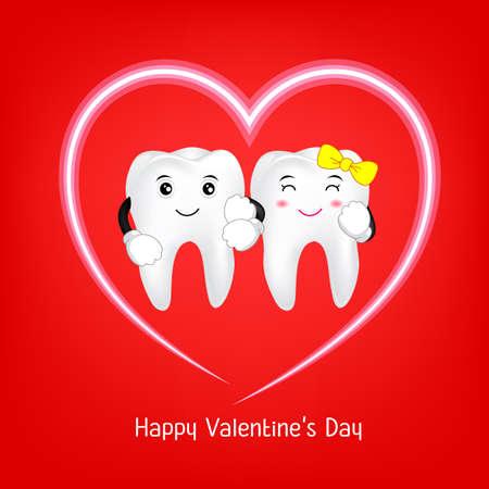 歯の心臓を持つ文字。バレンタインデーの概念の愛のカップル。赤い背景の図。