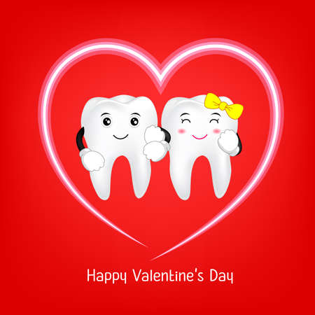 Tooth character with heart. Couple in love,  Valentine's day concept. Illustration on red background.