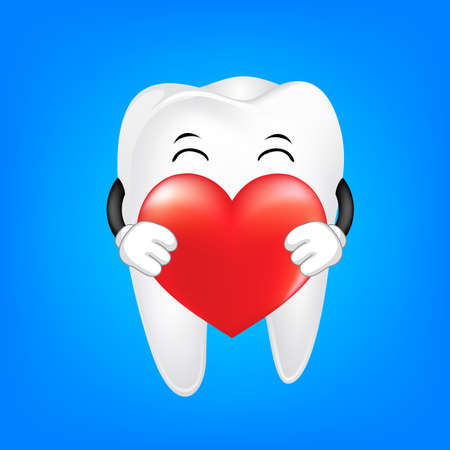 Cute cartoon tooth holding red heart. Dental care concept, illustration.