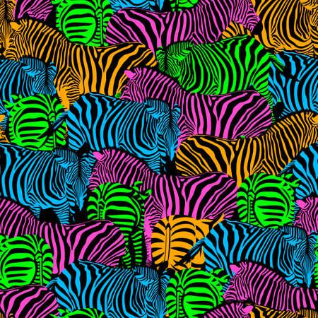 Colorful zebra seamless pattern. Savannah Animal ornament. Wild animal texture. Striped black and colors. design trendy fabric texture, vector illustration. Illustration