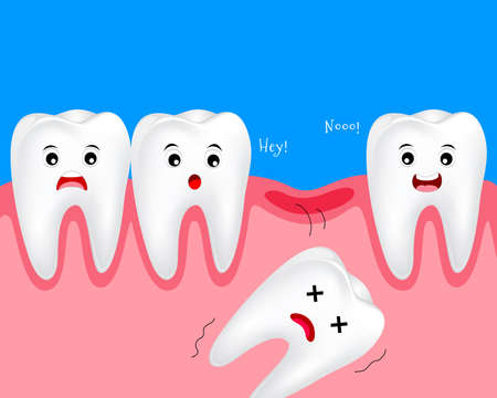 Cute cartoon tooth character. Losting baby teeth concept. Dental care illustration. Illustration