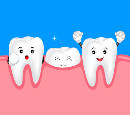 New tooth character growing up. Dental care cute cartoon, illustration.