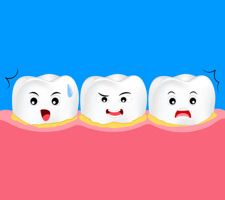 Tooth character periodontal disease with plaque or tartar. Dental care concept. cute cartoon, illustration.