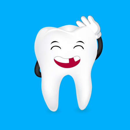 Tooth character with loose tooth. funny illustration. Great for dental care concept. Illustration isolated on  blue background.