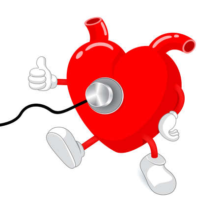 preventive: Heart character with stethoscope. Health care concept, illustration isolated on white background. Illustration
