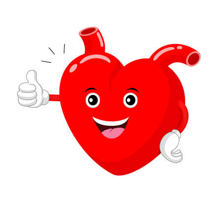 Heart character thump up. Health care concept, illustration isolated on white background.