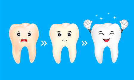 Tooth character whitening. Yellow and white teeth. Dental care concept, illustration isolated on blue background.