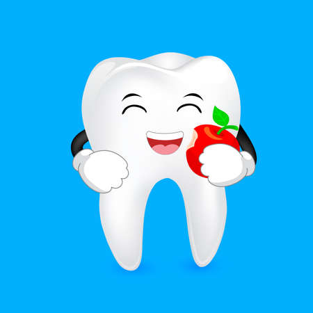 catoon: Cute catoon tooth character eating apple. Dental care concept, illustration isolated on blue background.