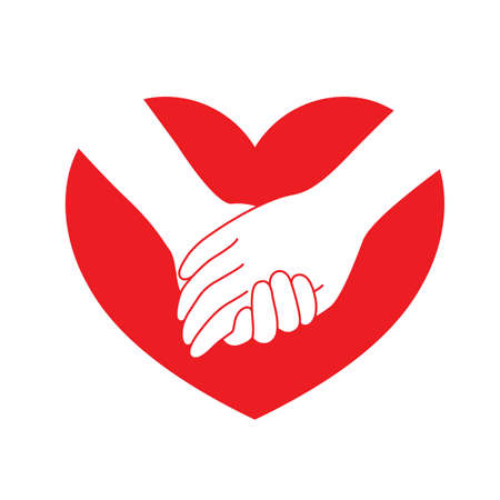 Holding hands on red heart. icon design in flat style. concept  of supporting, vector illustration. Illustration