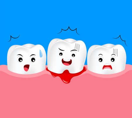 Carattere carino del dente del fumetto con problema della gomma. Concetto di cura dentale, gengivite e sanguinamento. Illustrazione