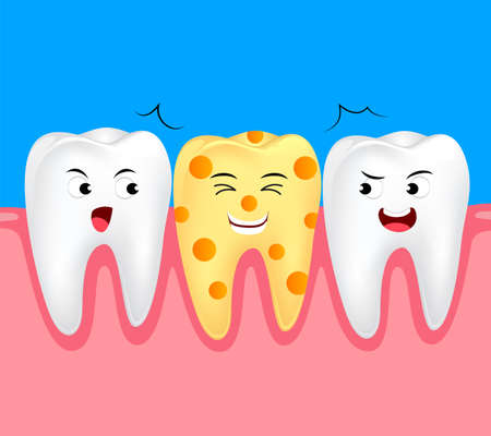 Funny cheese cartoon tooth character. Dental care concept, illustration