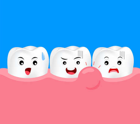Cute cartoon tooth character with gum problem. Dental care concept, swollen gums or periodontal disease. Illustration.