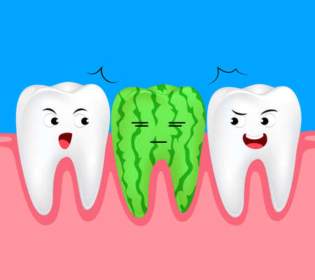 Funny watermelon cartoon tooth character. Dental care concept, illustration