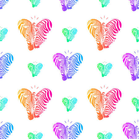 Colorful couple zebra head in heart shape, seamless pattern. Savannah Animal ornament. Wild animal texture. Vector illustration isolated on white background.