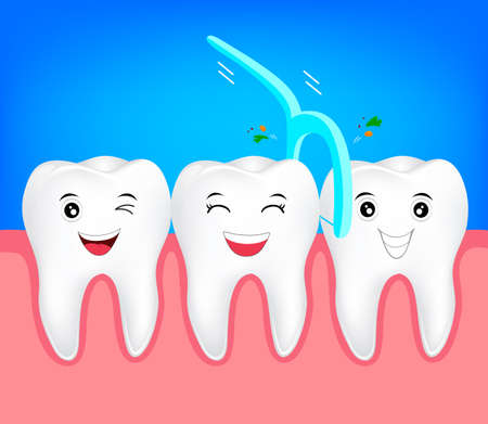 Teeth with dental floss for healthcare. dental care concept. Cute tooth character, illustration.