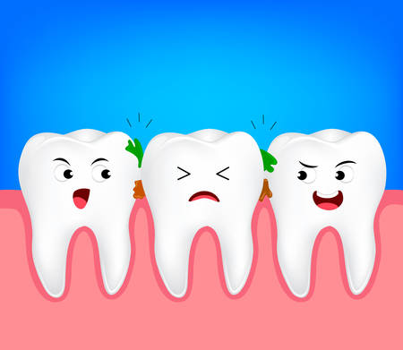 The remnants of food stuck in teeth, need to clean it. Tooth character, illustration. Dental care concept.