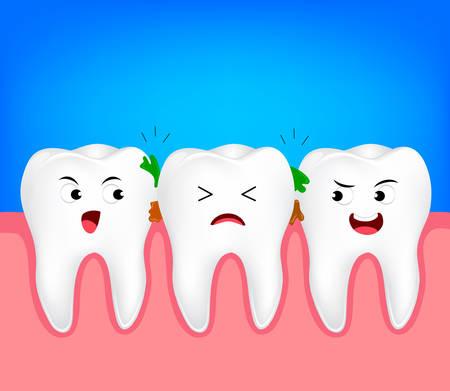 De overblijfselen van voedsel dat in de tanden zit, moeten worden schoongemaakt. Tandkarakter, illustratie. Tandheelkundige zorg concept.