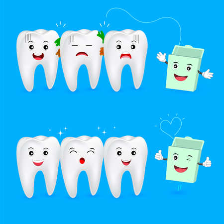 The remnants of food stuck in teeth, need to clean it. Tooth character with dental floss, illustration. Dental care concept.