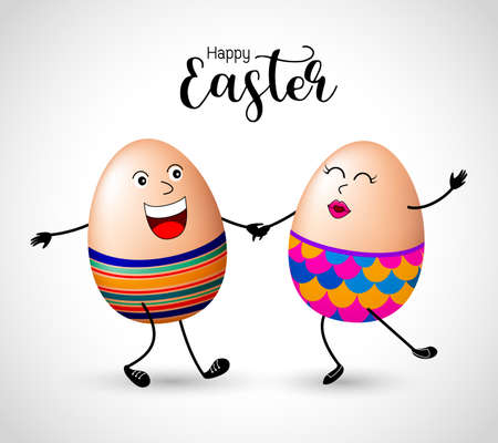 happy: Easter egg characters dancing. Happy Easter day concept, illustration.
