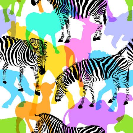 zebra skin: Zebra with colorful silhouette wildlife animals, seamless pattern. Wild animal design trendy fabric texture, illustration. Illustration