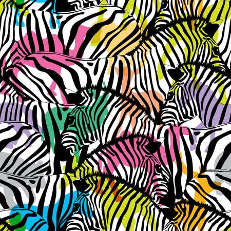Zebra with colorful silhouette wildlife animals, seamless pattern. Wild animal design trendy fabric texture, illustration. Illustration