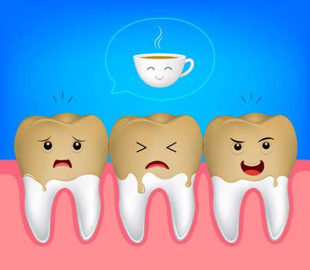 Cooffee 汚れと歯の文字。コーヒーは、あなたの歯を黄色になります。面白いイラストです。