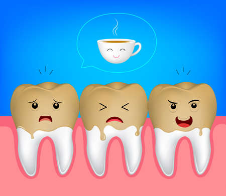 Tooth character with cooffee stains. Coffee makes your teeth yellow. Funny illustration. Ilustração