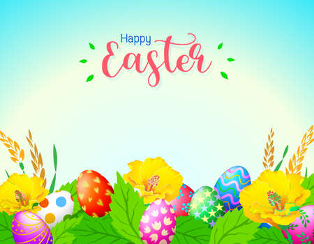 Easter eggs with flower and nature background. Nice decoration for Easter time. Illustration. Illustration