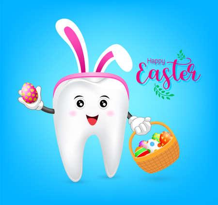 イースター卵のバスケットとウサギ歯文字。歯科イースター、青い背景の図。