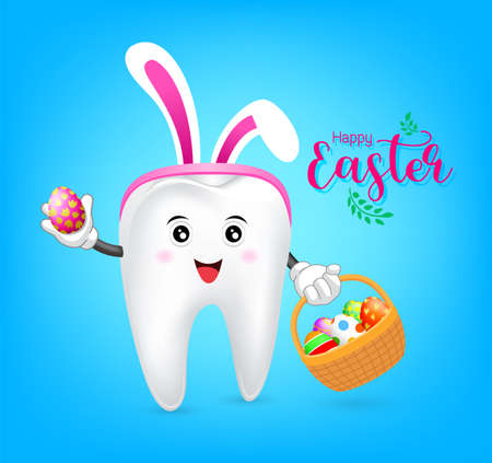 Bunny tooth character with basket of Easter eggs. Dental Easter, illustration on blue background. Ilustrace