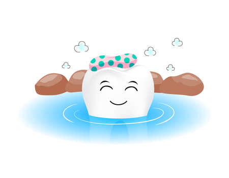 Cute tooth character in hot spring. Onsen, Japanese culture. Dental care concept.